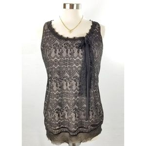 Cabi Emily Black Lace Overlay Sleeveless Top Small